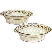 Pair of Wedgwood Creamware Chestnut Baskets Circa 1800-1810