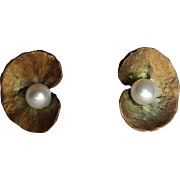 Pearl Lilypad Earrings