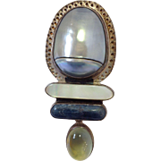 Pearl Lapis Moonstone Sterling Pin Amy Kahn Russel