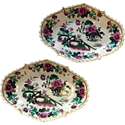 English Pair Cake Dishes Orientalist Fuchsia Spode 10 3/4""