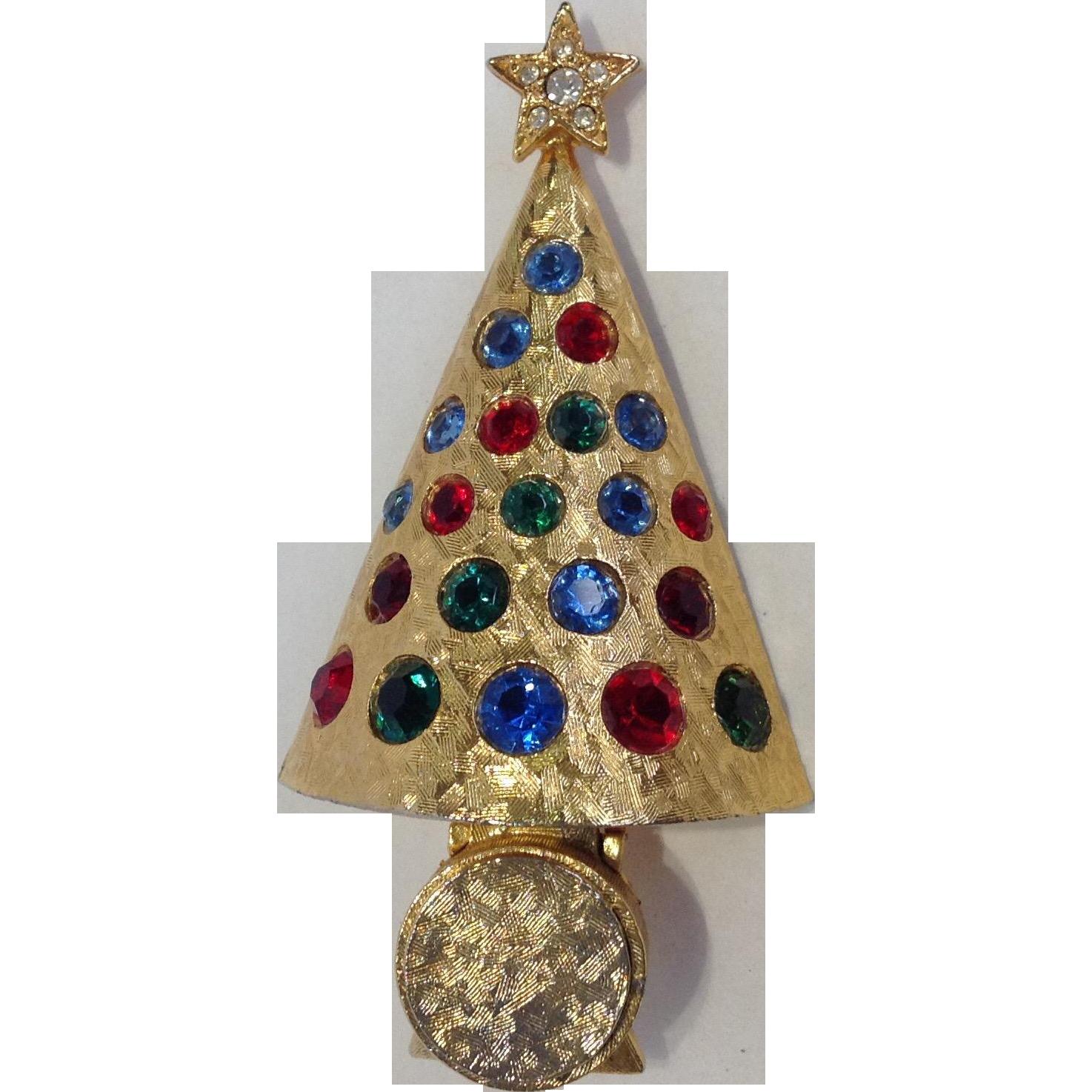 "Hattie Carnegie ""light-up"" Christmas Tree Pin Rare From"