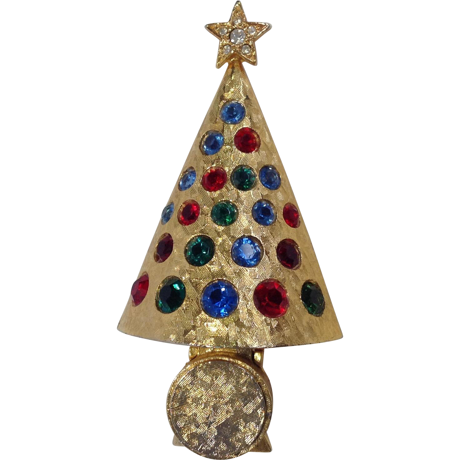 "Hattie Carnegie ""light-up"" Christmas Tree Pin Rare from antiquesofriveroaks on Ruby Lane"