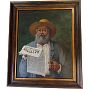 Man Reading Progress Subscriber Oil and Framed Copy of Paper Circa 1880