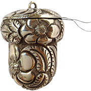 Acorn Repousse Sewing Case for Chatelaine Sterling by S Coddle 1890's