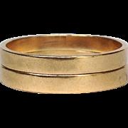 Pair of Flat Gold Band Rings 14 Karat Size 8