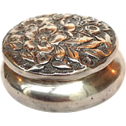 Sterling Repousse Pill Box 1¾""