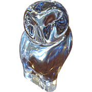 """Baccarat Owl Clear Crystal Paperweight 4"""" Figurine"""
