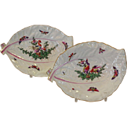 Pair of Peafowl Worcester Porcelain Leaf Dishes 18th c.