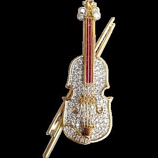 Cello Diamond Pin or Pendant Rubies 18 Karat