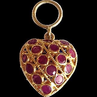 Heart Ruby Sapphire Charm or Pendant 14 Karat