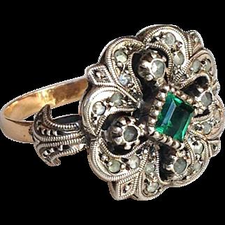 Emerald Diamond Ring 14 Karat Silver
