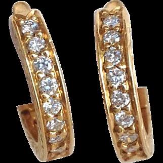 Diamond Gold Hoop Earrings 14 Karat