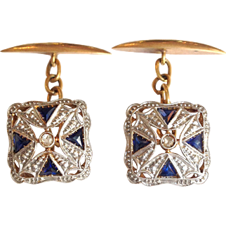 Sapphire Diamond Cuff Links 14 Karat White Gold