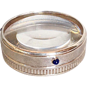 Cartier Silver Lapis Collection Magnifying Paperweight Circa 1990