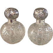 Pair Perfume Bottles Cut Glass and Sterling England Monogrammed