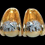 Diamond Elephant Earrings 14 Karat Gold