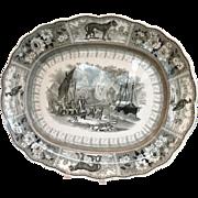 "Arctic Scenery Transferware Staffordshire 19"" Platter"