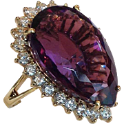Amethyst and Diamond Ring 14 Karat Gold