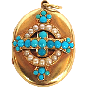 Victorian Turquoise and Pearl Locket 18 Karat Gold