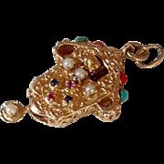 Cuckoo Clock Jeweled Charm Mechanical 14k
