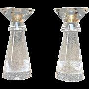 """Steuben Stardust Glass Bubbled Candlesticks 7 7/8"""""""
