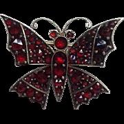 "Garnet Butterfly Pin 1¼"""