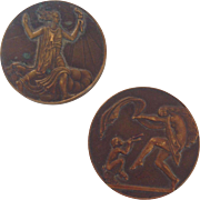 Pair of Bronze Medals with Dancing Goddesses