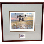 Jack Cowan Duck Stamp and Framed Print 1985