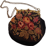 Gilt Jeweled Framed Purse Floral Needlepoint