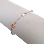 Pearl and Coral Pearl White Gold Chain Bracelet 14k