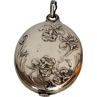 Locket Mirror French Art Nouveau Sterling Pendant