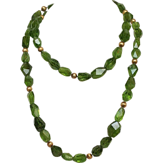 Peridot and Silver Gilt Bead Necklace