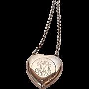 Monogrammed Heart Chatelaine Pendant Sterling