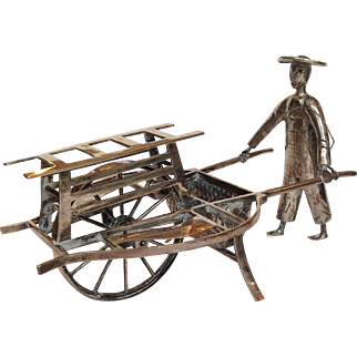 Chinese Export Silver Man Pushing Cart Sincere & Co 19th c.