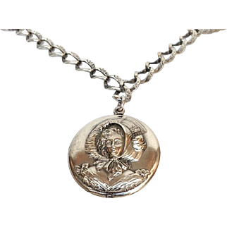Lady Locket on Chain Sterling Silver Circa 1900
