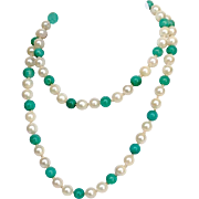 Chrysophase and Cultured Pearl Necklace