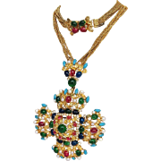 Christian Dior Maltese Cross Couture Necklace and Brooch 1969 Germany