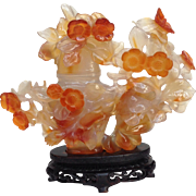 Carved Flowers Vase Carnelian Agate Wood Stand