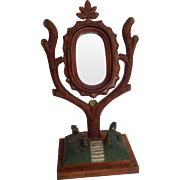 Folk Art Tree Mirror Stair Step Base American 1880's