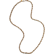 """Tiffany Sterling 14K Twisted Rope Cable Necklace 24"""""""