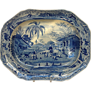 """Large Oriental Sports Pearlware Well and Tree 19"""" Platter 'Doorehas Leading Out the Dogs'"""