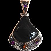 "Obsidian Pendant Sterling 18 Karat 3"""