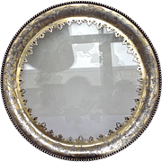 English Engraved Glass Grape Footed Salver 19th Century