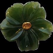 Alaskan Jade Gold Nugget Flower Pin