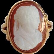 Hardstone Cameo Ring Victorian 14 Karat Gold