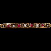 Pearl Ruby Bar Pin 14 Karat