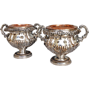 Pair Wine Coolers  Antique English Sheffield Mid 19th c.