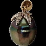 Baroque Pearl and Diamond Leaves Pendant