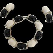 Kramer Black and White Rhinestone Bracelet and Earrings Set