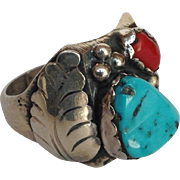 Turquoise and Coral Native American Ring